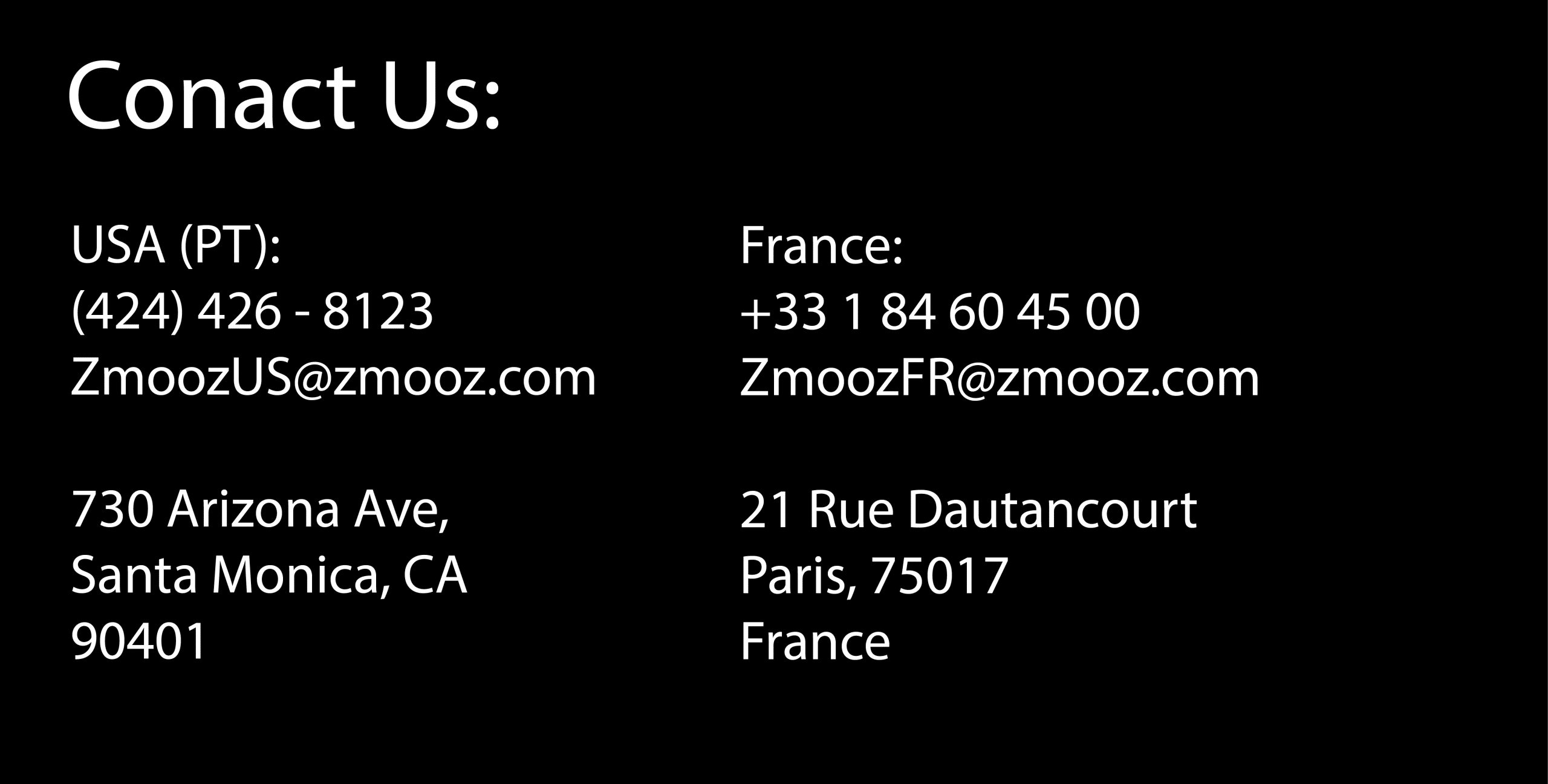 Contact Information Zmooz